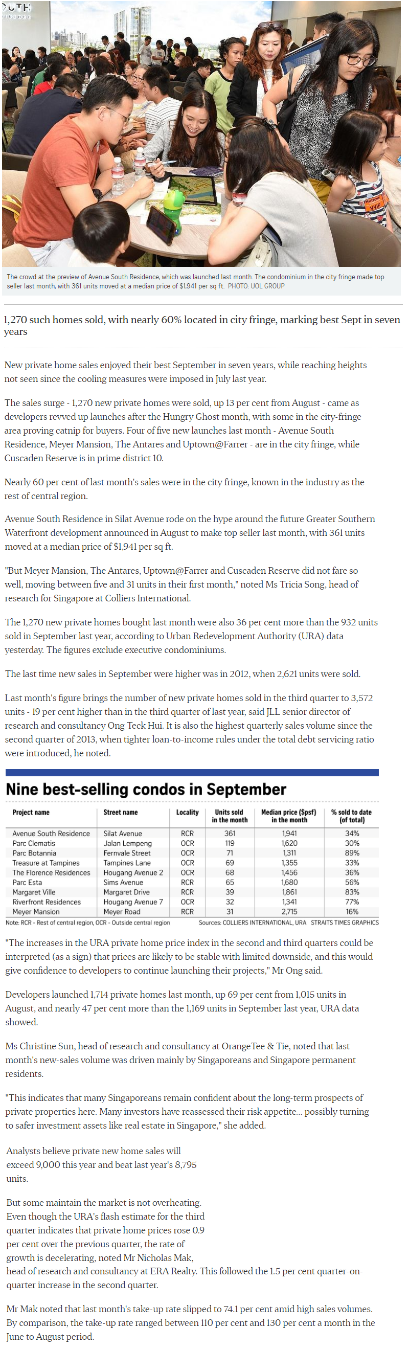 One Draycott - New private Home Sales Hit A Hight In September