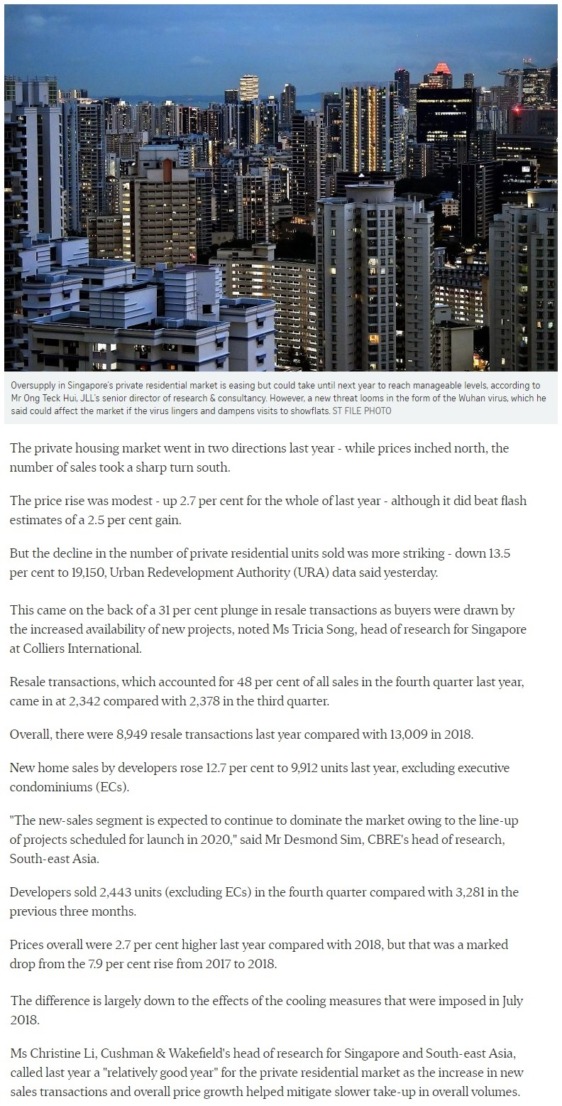 One Draycott - Singapore private home prices inch up 2.7% for 2019 Part 1